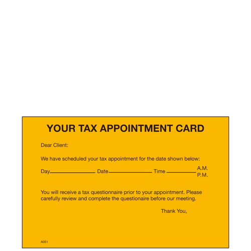A051 - Tax Appointment Reminder Card