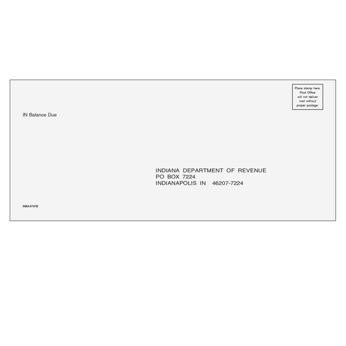 INB410 - Indiana Balance Due Envelope
