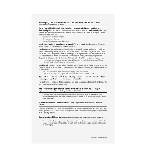 8861INS - Lead Paint Booklet Insert