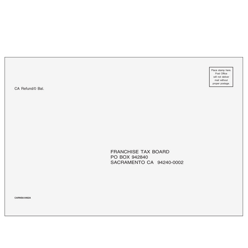 CARNS610 - CA Refund Envelope 6x9