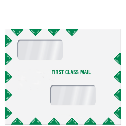 ENV400 - Double Window  First Class Mail Envelope - Peel & Close