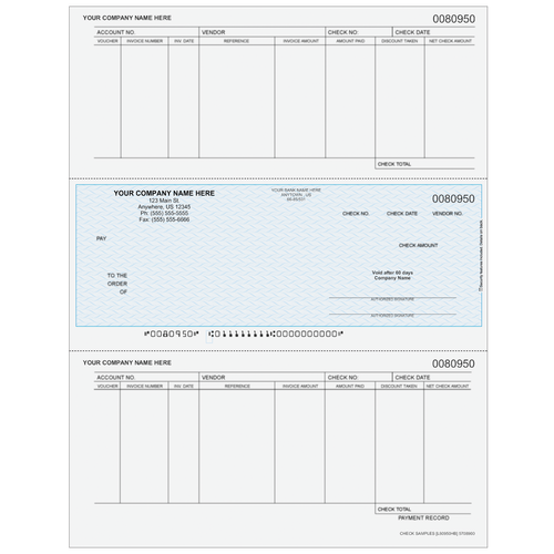 L80950 - Accounts Payable Middle Business Check