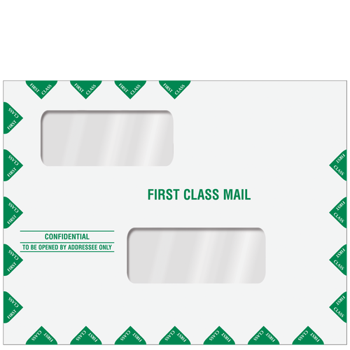 ENV201PS - Double Window First Class Envelope (Peel & Close)