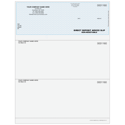 L1160P - Advice of Deposit Top Check (with Extra Perf)