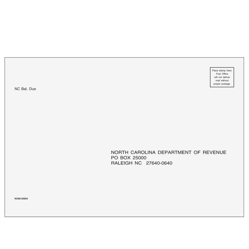 NCB610 - North Carolina Balance Due & E-file Envelope
