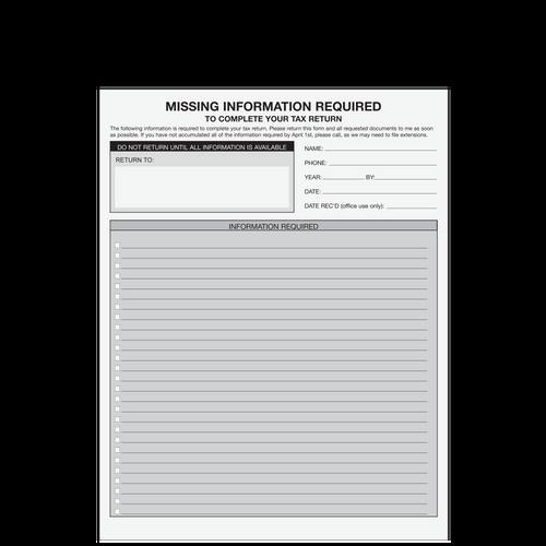 A073 - Missing Information Form