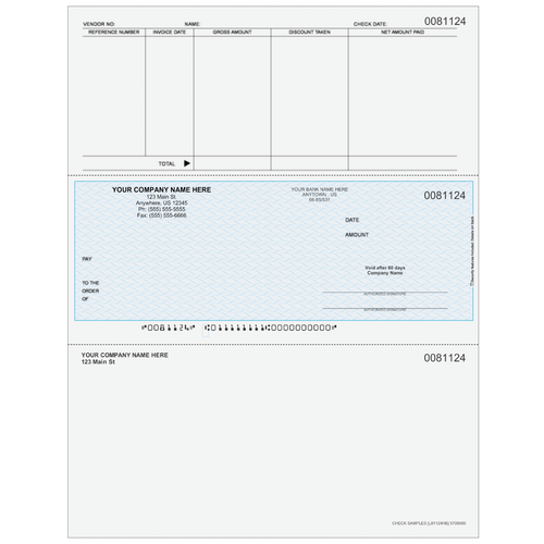 L81124 - Accounts Payable Middle Business Check