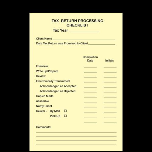 1207614 - Post-It Tax Rtrn Process Cklst