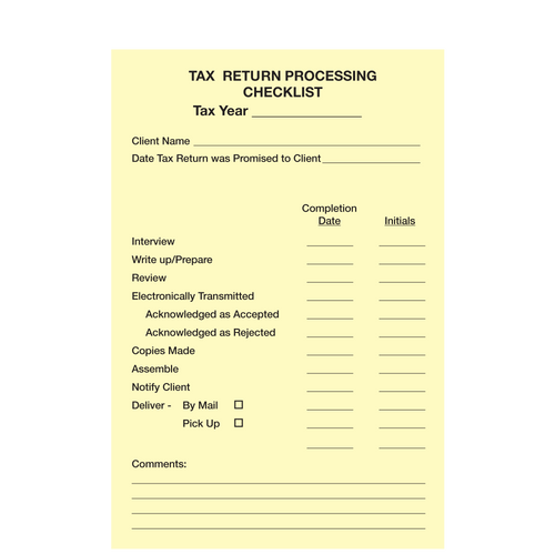 1207614 - Post-It Tax Return Process Checklist