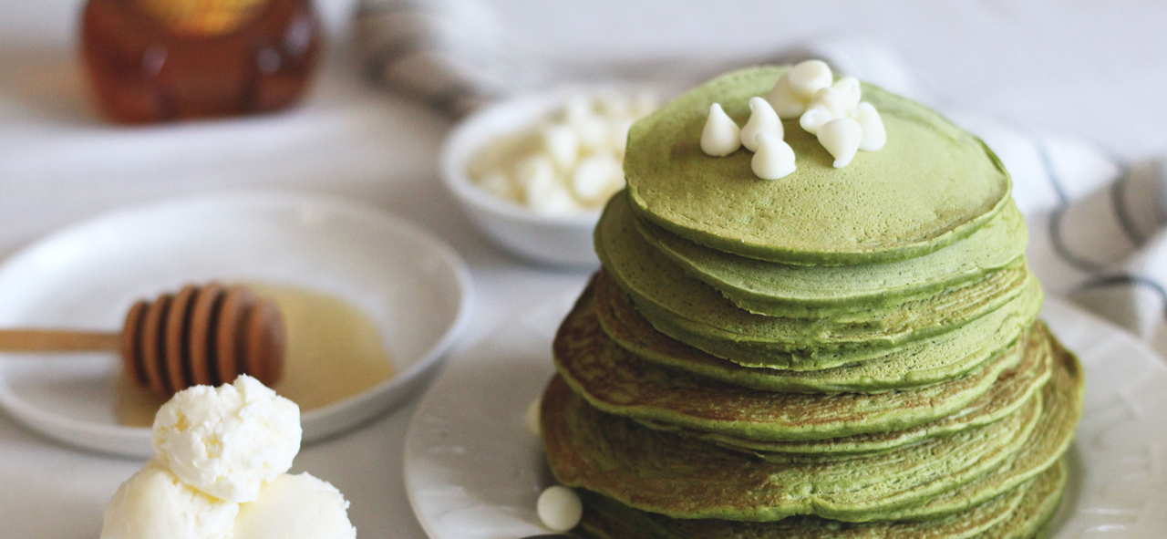 Green Tea Matcha Pancakes on a Plate