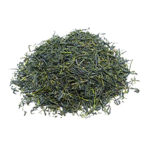 Premium Japanese Sencha, loose tea leaves in a mound