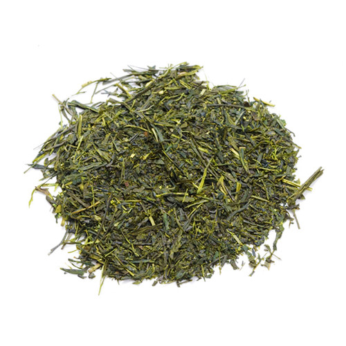 Deep steamed Japanese Sencha, loose tea leaves in a mound, sold in 500 gram bag