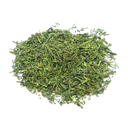 Japanese Sencha tea leaves infused with Matcha, in a mound