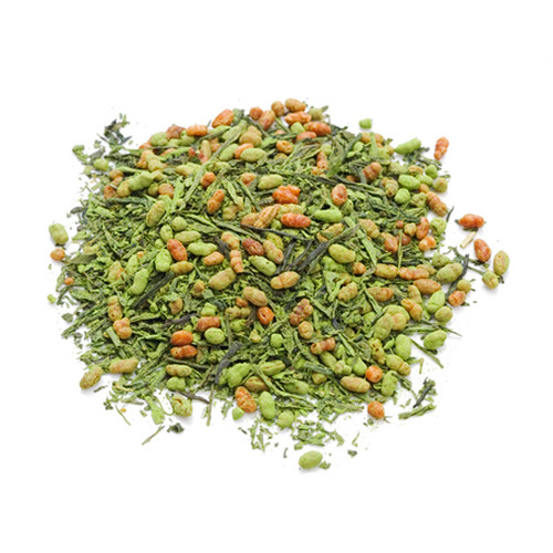 Japanese Genmaicha, tea leaves infused with Matcha, in a mound, sold in 500 gram bag