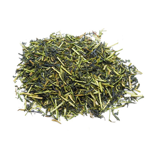 Japanese Kukicha tea leaves, in a mound, sold in 500 gram bag