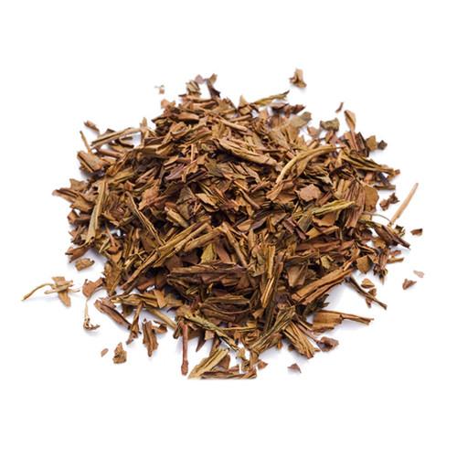 Japanese Hojicha, brown tea leaves, in a mound, sold in 500 gram bag