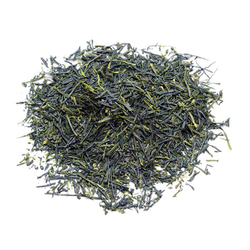 Organic Japanese Gyokuro, loose tea leaves in a mound, sold in 500 gram bag