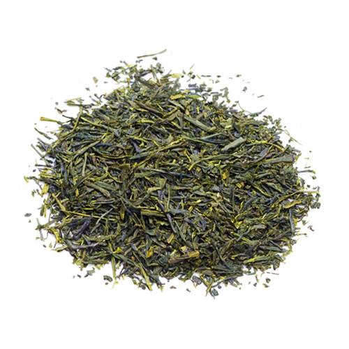 Organic Japanese Sencha, loose tea leaves in a mound, sold in 500 gram bag