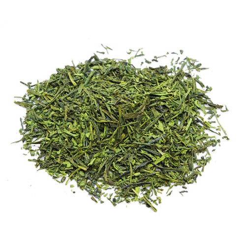 Organic Japanese Sencha, infused with Matcha, loose tea leaves in a mound, sold in 500 gram bag