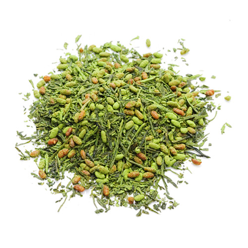 Organic Japanese Genmaicha, infused with Matcha, loose tea leaves in a mound, sold in 500 gram bag