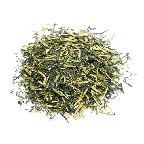 Organic Japanese Kukicha, loose tea leaves in a mound, sold in 500 gram bag