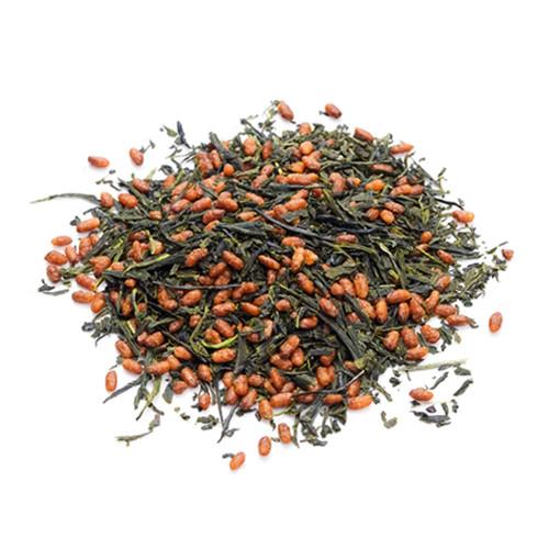 Organic Japanese Genmaicha, loose tea leaves in a mound, sold in 500 gram bag