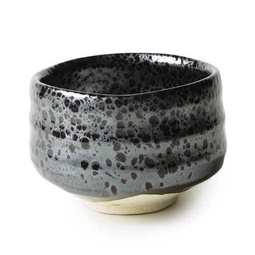 Matcha bowl, with distinctive silver colored marbling patterns on a black base