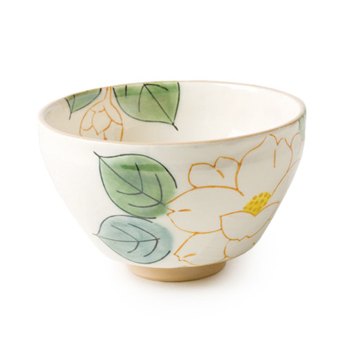 Smaller white tea bowl, with exquisite tea leaf design on the outside