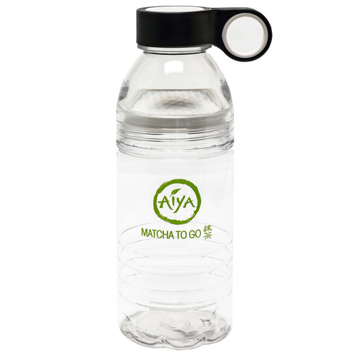 Branded clear plastic tumbler bottle, the perfect complement for Aiya's Matcha To Go stick packs