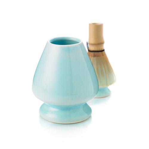 Matcha whisk holder, blue, whisk in the background