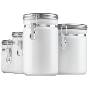 Canister Set White Ceramic 4pc - MD03922MR