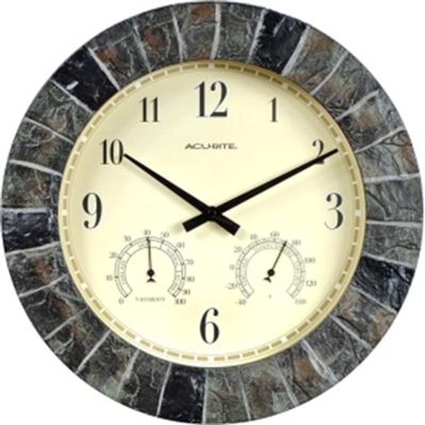 AcuRite 14-inch Faux Slate Outdoor Clock with Thermometer and Humidity