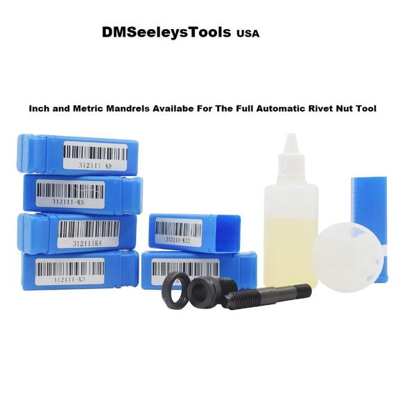 Inch and Metric Mandrels for DMSeeleys Full Automatic Rivet Nut Guns