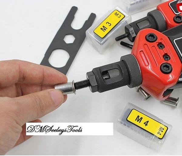 Auto Rotate Rivet Nut long arm puller tool Mandrel.