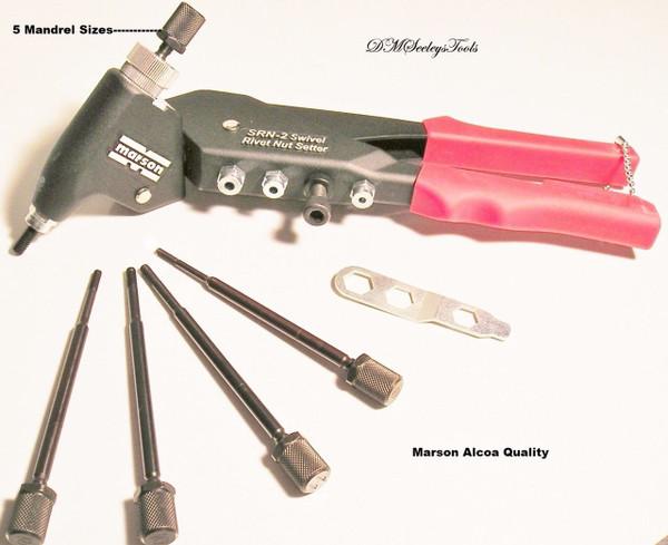 RIV NUT Swivel Head Alcoa Rivet Nut insert Tool 360 Degree 5 Inch size Mandrels new