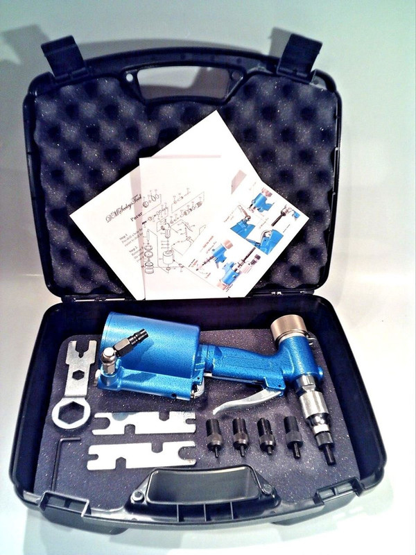 Pneumatic rivet nut tool and case.