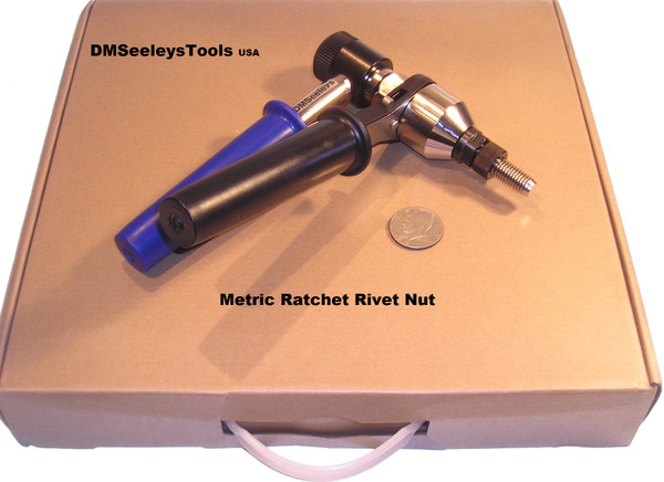 Ratchet Rivet Nut Tool with Metric Type Threaded Mandrels