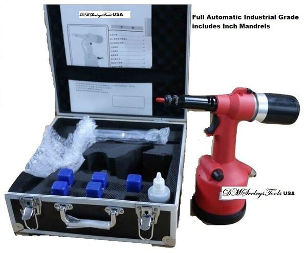 Rivet Nut Pneumatic Gun Full Automatic with 7 PC INCH Size Mandrels 8/32-1/2