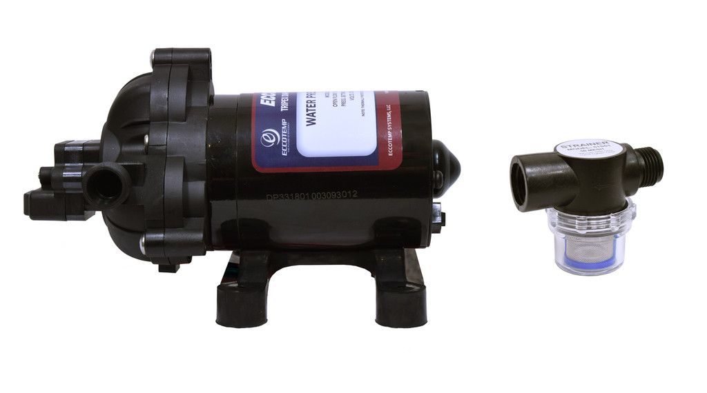 Eccotemp EccoFlo Diaphragm 12V  Water Pump and Strainer