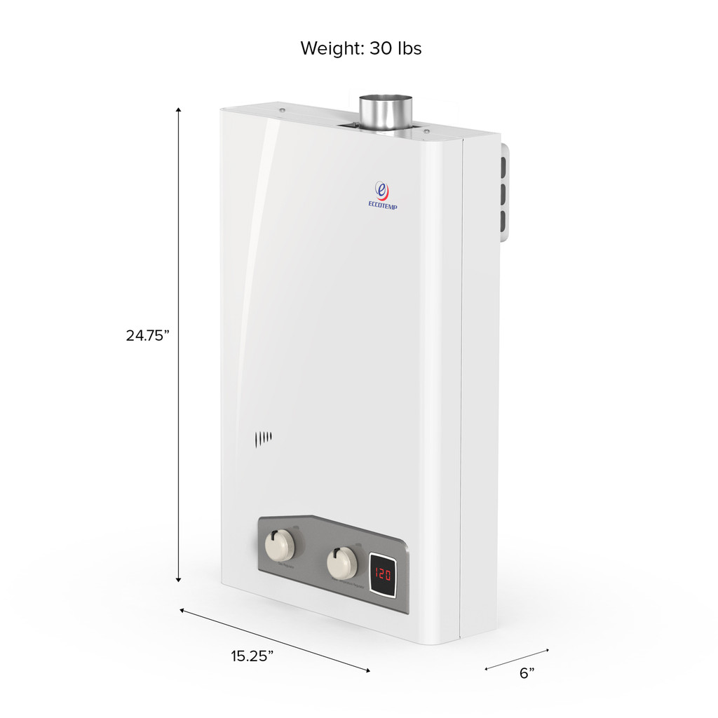 Eccotemp FVI12 Indoor 4.0 GPM Natural Gas Tankless Water Heater Side Callout