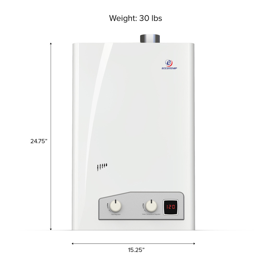 Eccotemp FVI12 Indoor 4.0 GPM Liquid Propane Tankless Water Heater Front Callout