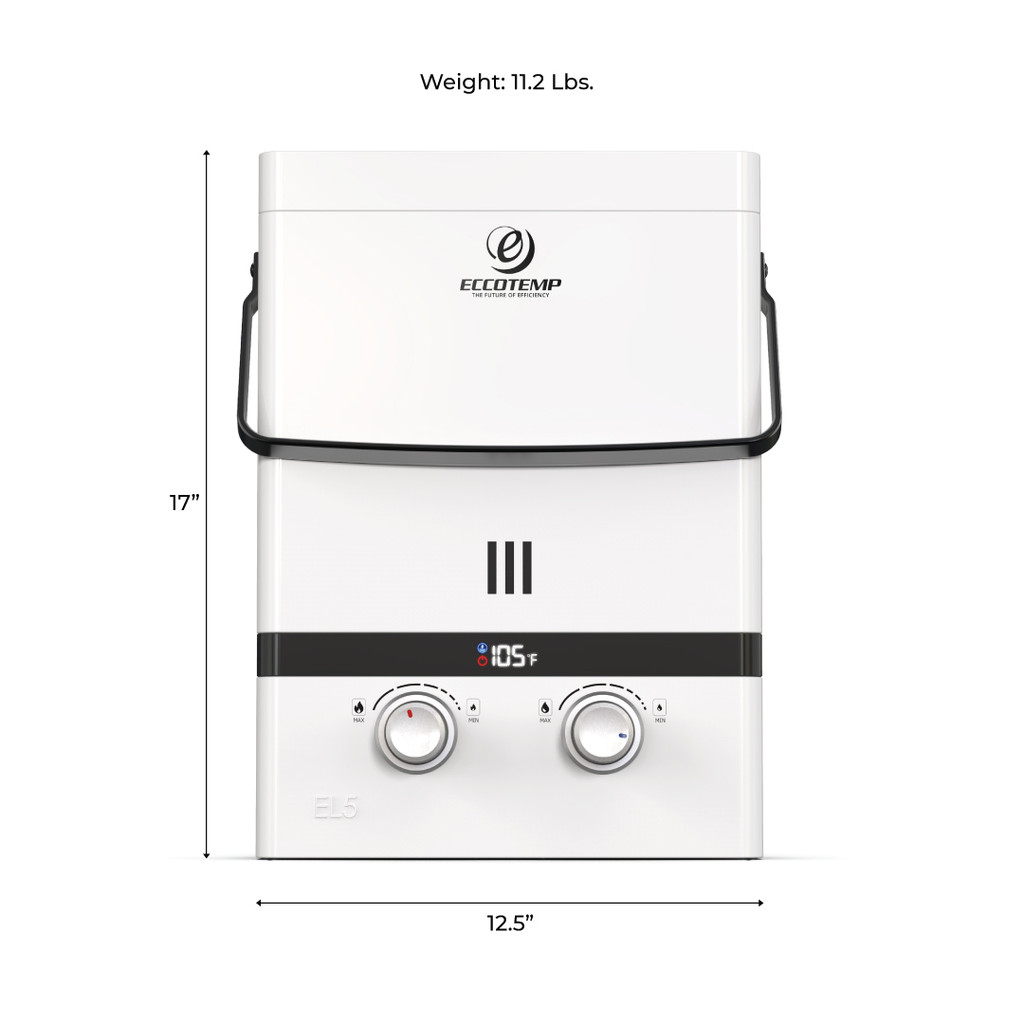 Eccotemp Luxé 1.5 GPM 37.5K BTU Outdoor Portable Tankless Water Heater with LED Display