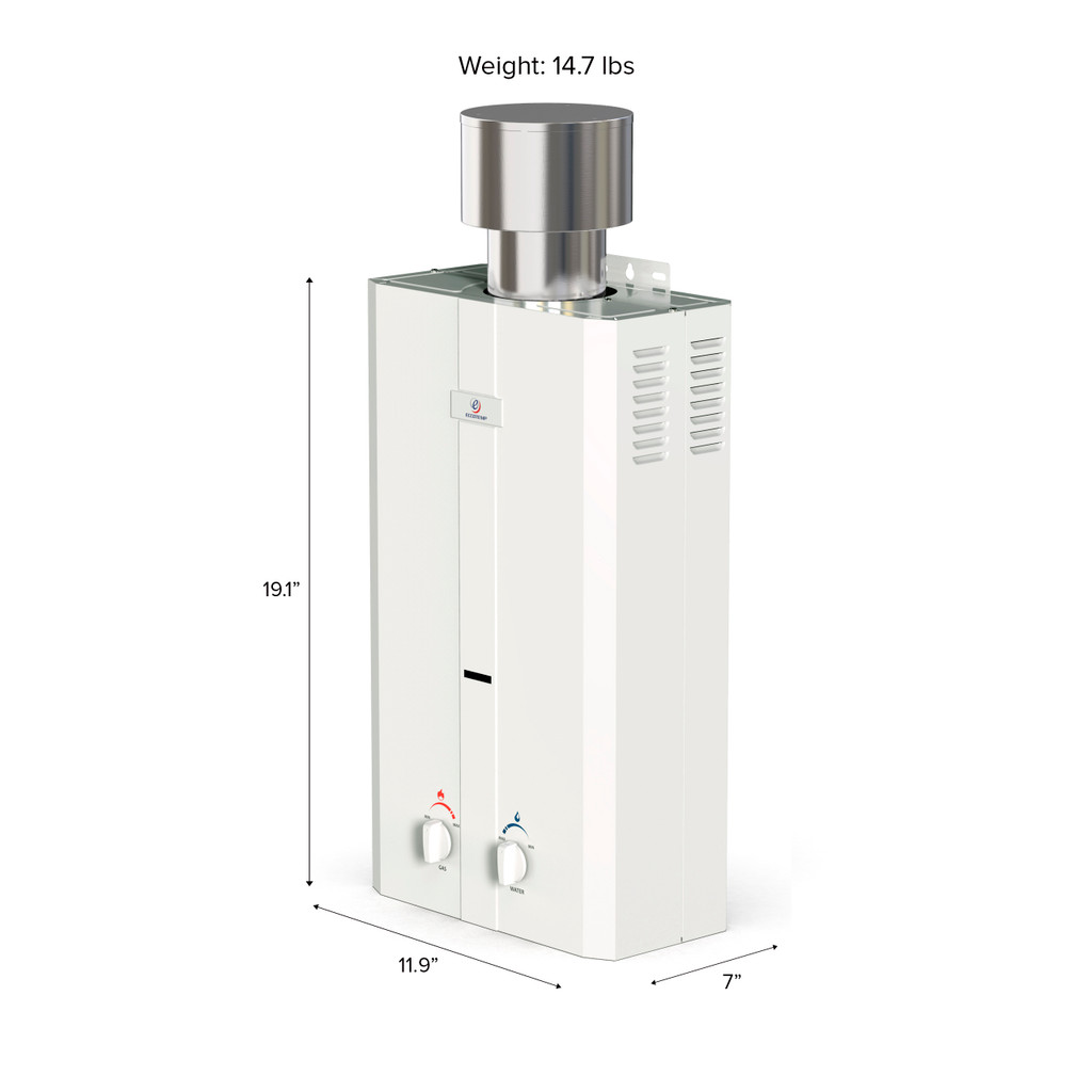 Eccotemp L10 Portable Outdoor Tankless Water Heater Side View Callout