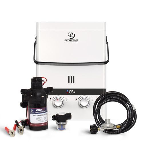 Eccotemp Luxé 1.5 GPM Outdoor Portable Tankless Water Heater w/ EccoFlo Diaphragm 12V Pump and Strainer