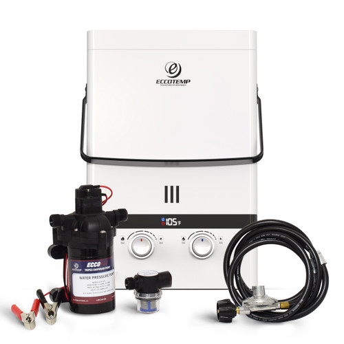 Eccotemp Luxé 1.85 GPM Outdoor Portable Tankless Water Heater  w/ EccoFlo Diaphragm 12V Pump and Strainer