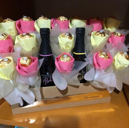 Pink & Yellow Ferrero Rosebuds