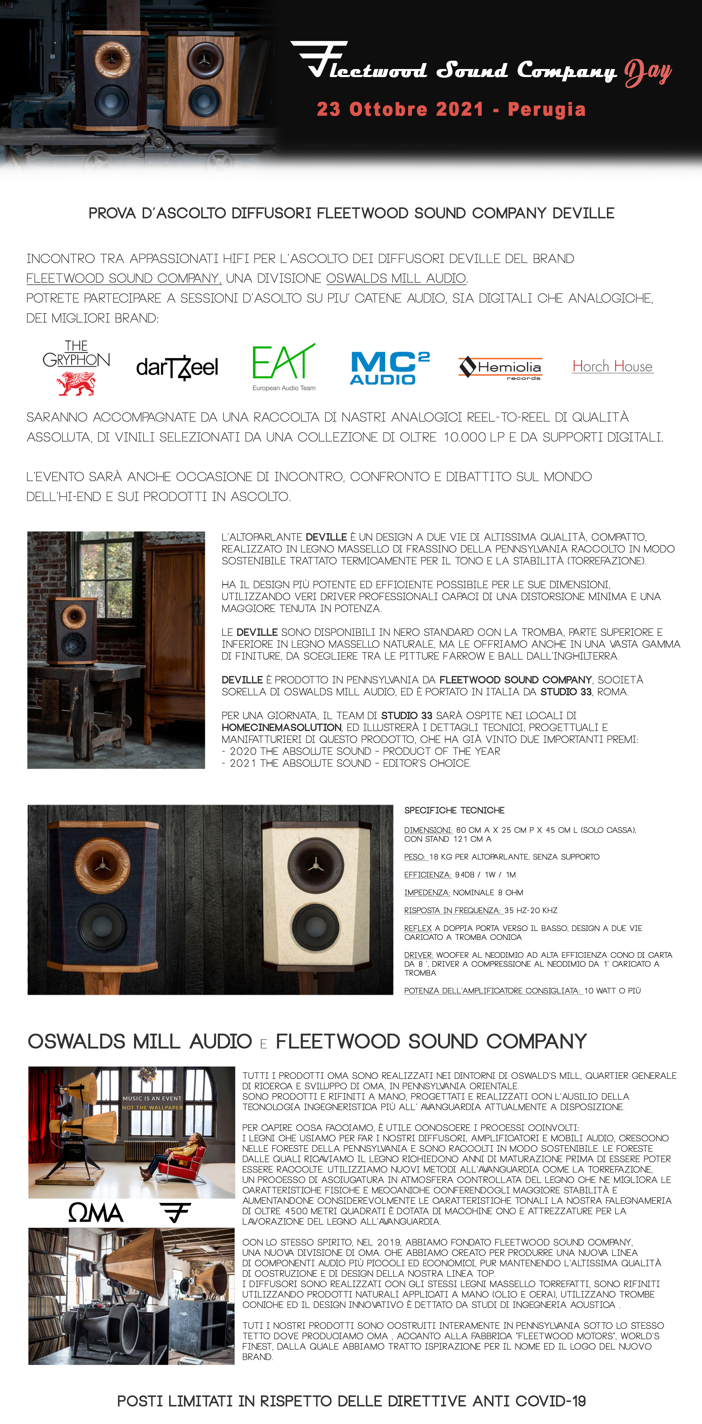 Evento Perugia 23 Ottobre 21 - Fleetwood Deville