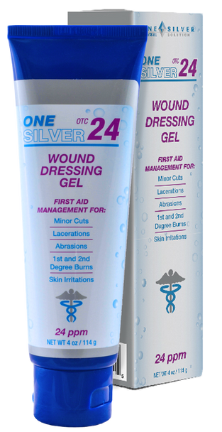 24 ppm Silver Gel OTC.  4 oz Tube. Topical Wound Care and First Aid Management