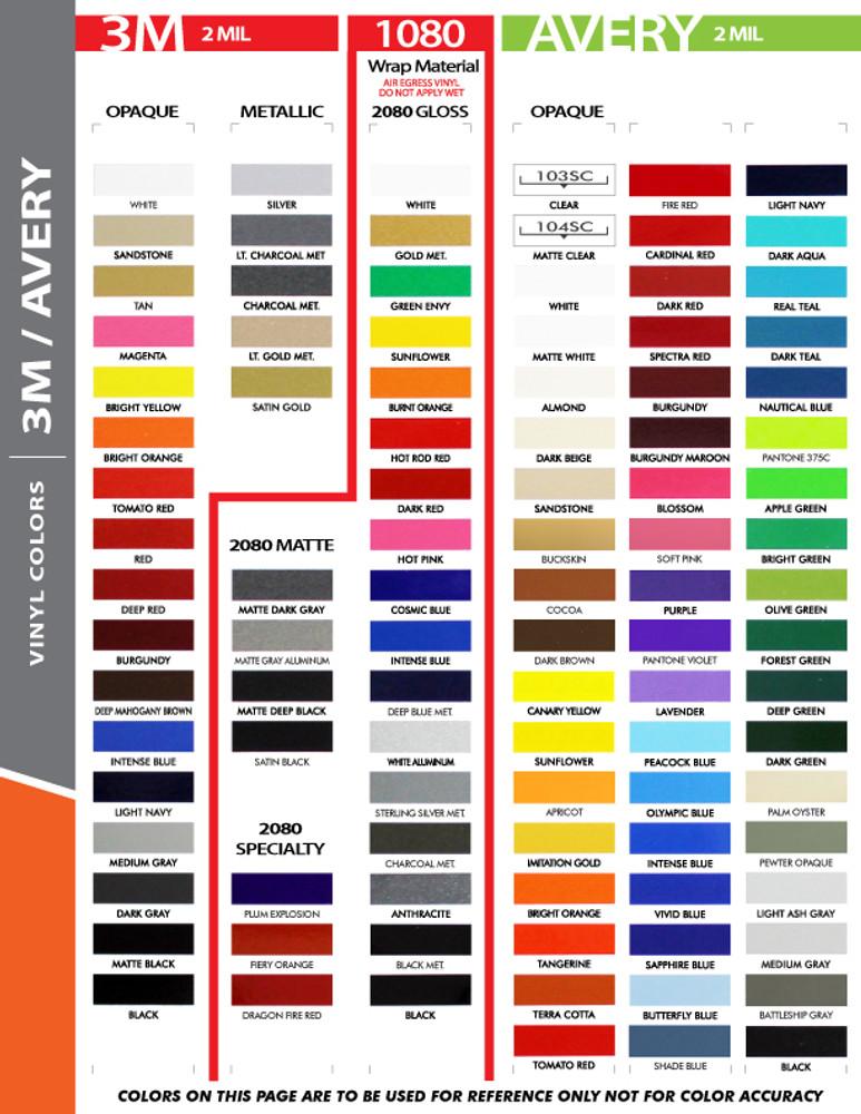 Stripeman.com 1/2 Inch Single Line Single Color Vinyl Stripe Roll Color Chart Page 1