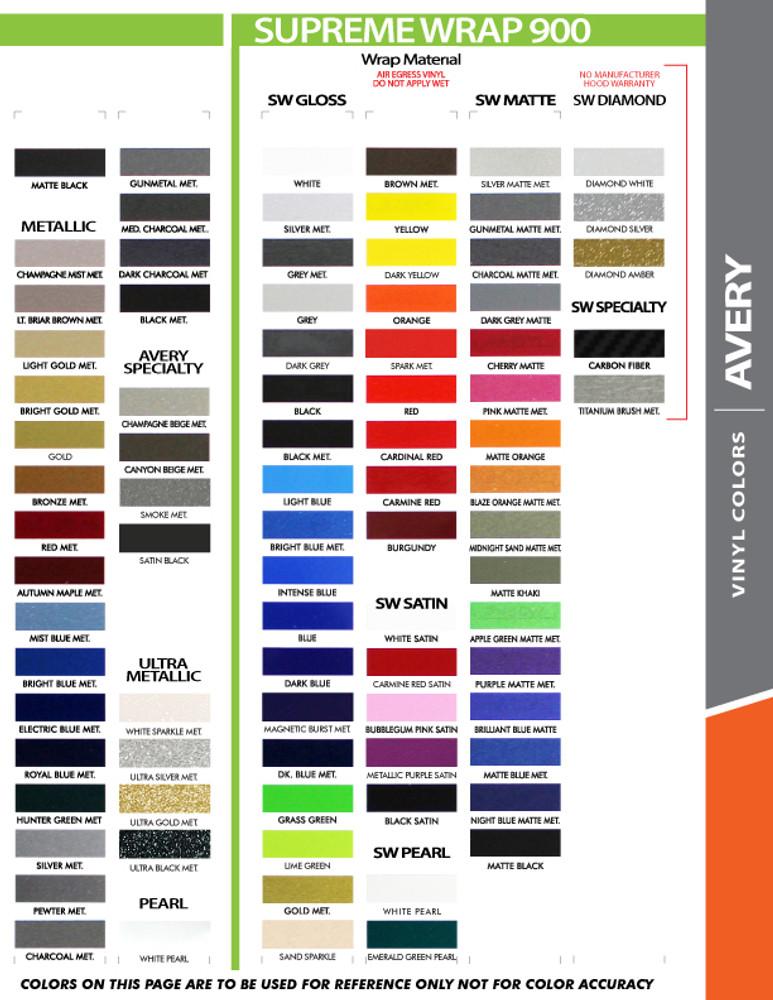 stripeman.com 2 Inch Wide Single Line Single Color Vinyl Stripe Roll Color Chart Page 2
